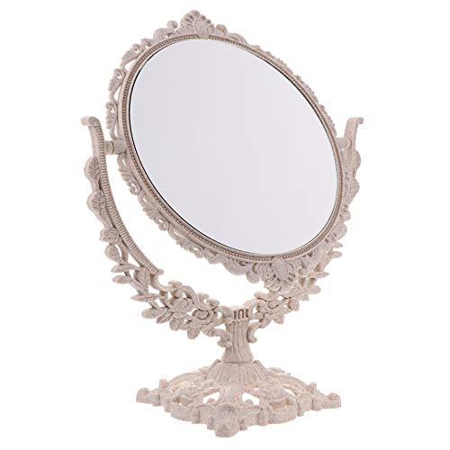 Garneck Da Tavolo Specchio Antico Vintage Girevole Specchio Cosmetico con Cornice retrò Desktop Ovale Spogliatoio Girevole Specchio per Camera da Letto Bagno Specchio per Il Trucco