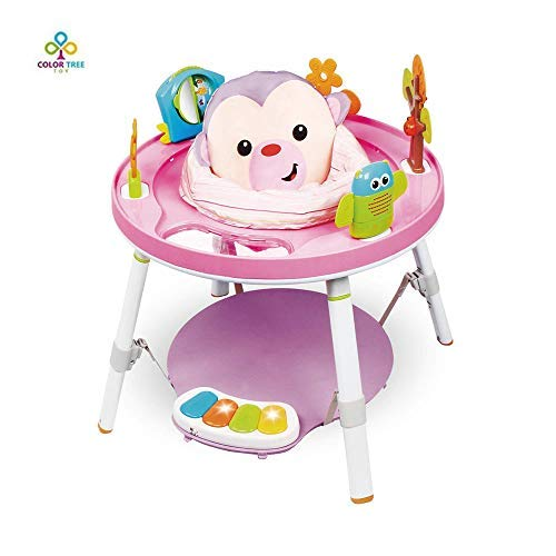 COLOR TREE 3-in-1 Spin and Sort Activity Centes, Infant to Toddler Toy, Baby Jumpers and Bouncers ,Pink, 4 Months (Pink)