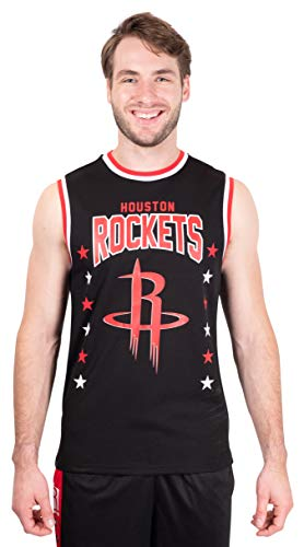 Ultra Game NBA Houston Rockets Mens Jersey Sleeveless Muscle T-Shirt, Black, Medium