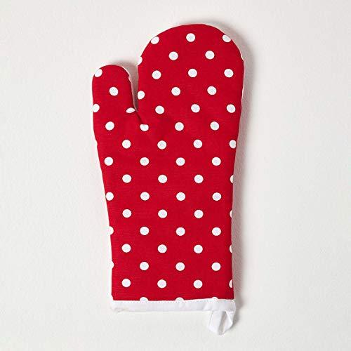 Homescapes – Pur Coton – Gant de Cuisine – À Pois – Rouge Blanc – 18 x 32 cm - Linge de Cuisine Entièrement Coordonné et Lavable