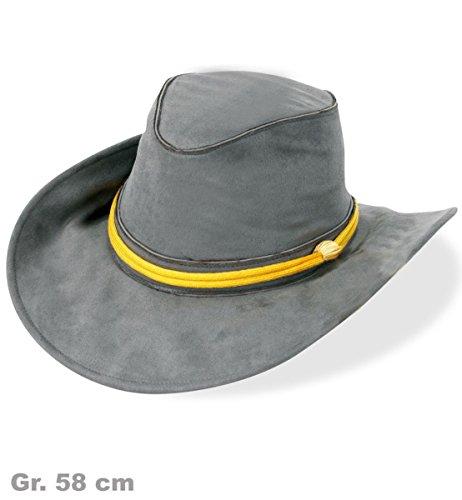 Südstaaten-Hut KW 58 grau mit gelber Kordel Kostüm Amerika Militär Armee