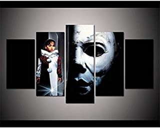 Michael Myers,Halloween,Horror Movie, 5PCS Oil Paintings Modern Canvas Prints Artwork Printed on Canvas Wall Art for Home Office Decorations-915 (Unframed)