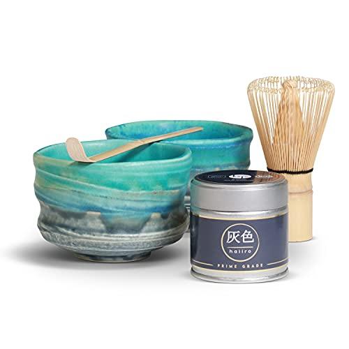 Bio Matcha Set mit 2 Schalen – Premium Bio-Matcha-Tee aus Japan (30g) im Partner-Set – Grüntee-Pulver bio-zertifiziert nach DE-ÖKO-006 (blau)