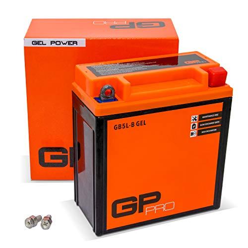 GP-PRO GB5L-B 12V 5Ah GEL-Batterie (Kompatibel mit YB5L-B / YT5L-BS) (Wartungsfrei & Versiegelt) Rollerbatterie Akkumulator Roller Moped