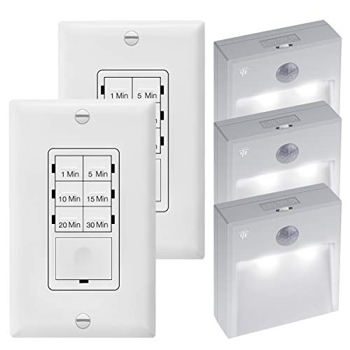 ENERLITES Countdown Timer Switch for Bathroom Fans and Lights, Neutral Wire Required, UL Listed, 2-Pack/TOPGREENER Battery-Powered Motion-Sensing LED Stick, Wireless Motion Sensor Light, 3-Pack