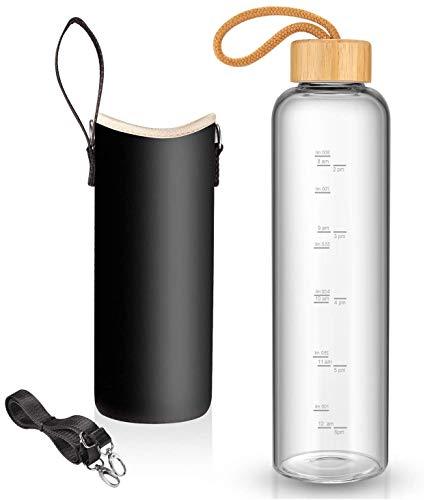 Glas-Wasserflasche mit Nylon-Schutzhüllen und Edelstahl-Deckel, 1 Liter, wiederverwendbar, umweltfreundlich, sicher für heiße Flüssigkeiten, Tee, Kaffee, Klein, Kaffeebraun, Bambus
