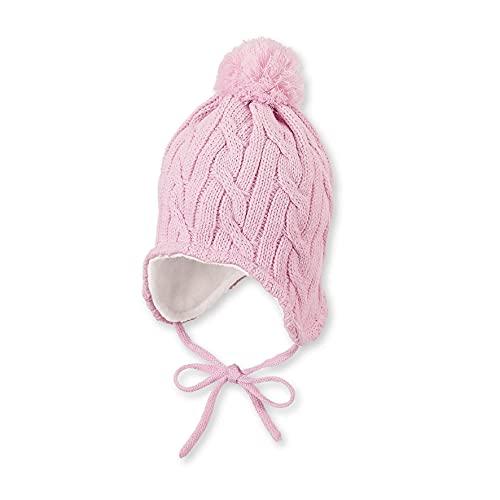 Sterntaler Mütze für Mädchen mit Bommel und Zopfstrickmuster, Gefüttert mit Baumwoll-Fleece, Alter: 2-4 Jahre, Größe: 53, Rosa