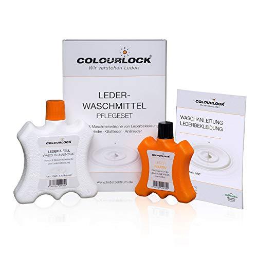 COLOURLOCK Lederwaschmittel 250 ml + Leder Fixativ 100 ml (Set), für die Wäsche von Lederkleidung, Lederjacke, Lederhose (Krachlederne), Ledermantel