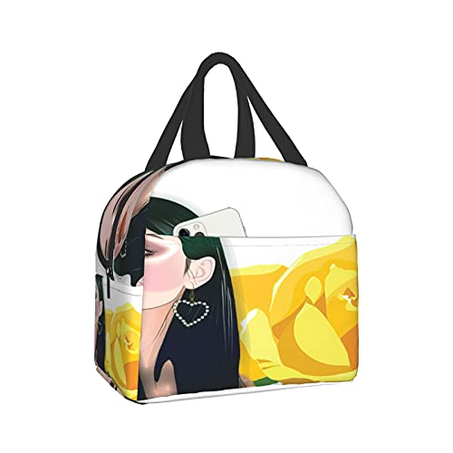 Vxrjon Character-Girl With Earrings Portable Waterproof And Insulated Lunch Bag Can Be Reused Indoors And Outdoors