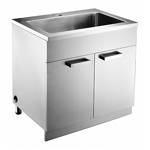 Dawn SSC3336 Stainless Steel Sink Base Cabinet with Built In Garbage Can and Cutting Board with Rack