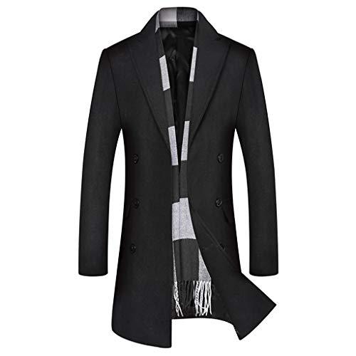 Wokasun.JJ Womens Winter Lapel Wool Coat Trench Jacket Long Sleeve Overcoat Outwear