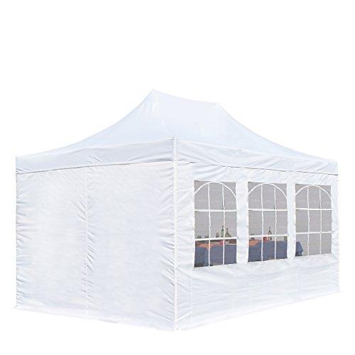 TOOLPORT 3x4,5m Pavillon Faltpavillon inkl. Seitenteile Stahl Faltzelt Garten Partyzelt weiß