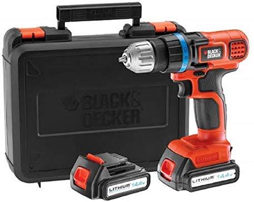 Black+Decker Akku-Bohrschrauber (14.4V, 1.5Ah, handliche und leichte Bohrmaschine, inkl. 2 Li-Ion Slidepack Akkus und Ladegerät im Koffer, 10(+1)-stufige Drehmomentvorwahl, Softgriff) EGBL14KB