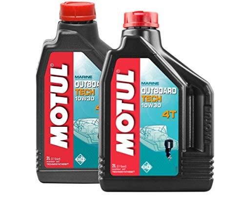 MOTUL Aceite Motores Nauticos Outboard Tech 4T 10W-30, Pack 4 litros