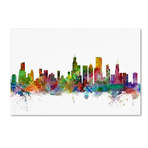 Chicago Illinois Skyline by Michael Tompsett, 16x24-Inch Canvas Wall Art