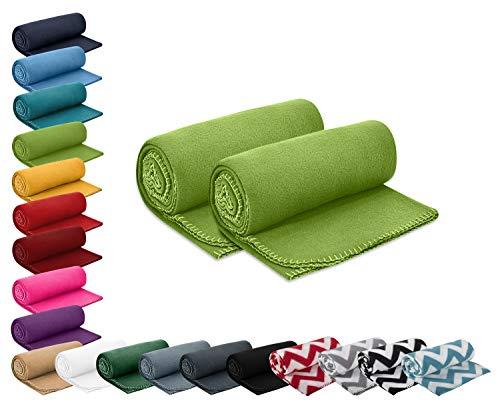 wometo 2er Set Polar- Fleecedecke 130x160 cm ca. 400g wertiges Gewicht mit Anti-Pilling Kettelrand Farbe grün in vielen bunten Farben