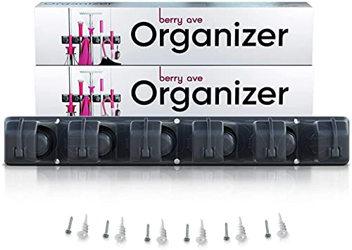 """Berry Ave Broom Holder & Wall Mount Garden Tool Organizer- Kitchen, Closet, Garage & Laundry Room Storage With 5 Slots And 6 Hooks- Wall Holder For Broom, Rake & Mop Handles Up To 1.25"""" [Black, 4 Pack]"""