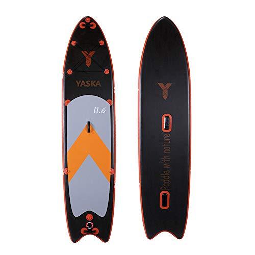 NgMik Tabla De Surf Inflable Paddle Board 11'6' Inflable Sup Conjunto Ideal for Principiantes/Intermedios Incluye Kit De Accesorios Estable (Color : Black, Size : 350x81x15cm)