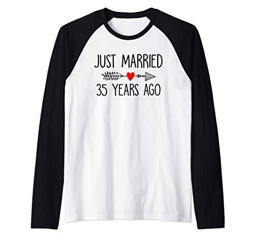 Just Married 35 Years Ago 35th Wedding Anniversary Couple Raglan Baseball Tee