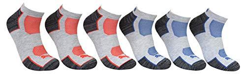 Puma Men's 6 Pack Low Cut Sportstyle Socks, Grey/Blue/Red, Sock Size 10-13 P114391-037