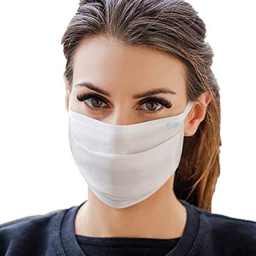 Annes Waschbare Mund- und Nasenschutzmaske, weiß, 5er-Pack, Öko-Tex 100 zertifiziert, SILVER BION FORTE Ionen, bequemes Ohrschlaufen-Design, wiederverwendbar, handgenäht in Europa.