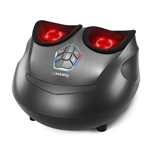 Naipo foot massager machine shiatsu electric feet massager with heat,deep kneading,air compression for foot plantar fasciitis, pain relief, circulation fits feet up to men size 12. 5
