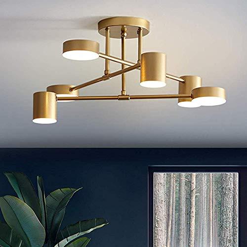 YSNJG creatieve led-plafondlamp dimbaar draaibaar 360 designer lamp eenvoudige decoratie ijzer paraplu kroonluchter 58W spaarlamp hal bar restaurant strijkrolamp L57cm × H25cm goud