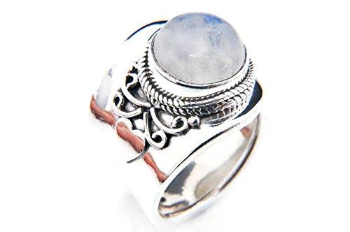 Mondstein Ring 925 Silber Sterlingsilber Damenring weiß verstellbar (MRI 61-04)