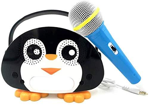 Neueste Kinder Bluetooth Karaoke-Maschine mit Mikrofon Pinguin, Kinder Karaoke Wireless-Lautsprecher für Indoor Outdoor-Aktivitäten Aktivitäten Party Bestes Geschenk für Kinder(Schwarz)