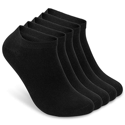 ALL ABOUT SOCKS Sneaker Socken Herren und Damen 39-42 schwarz (5er Pack) - Füßlinge Herren und Damen Baumwolle - Sneakersocken