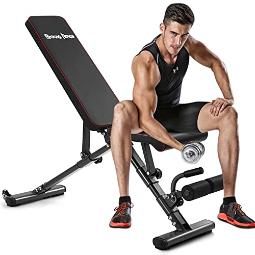 Bronze Times Weight Bench Adjustable, Strength Training Bench for Full Body Workout Foldable Incline Decline Exercise Bench with Fast Folding for Home...
