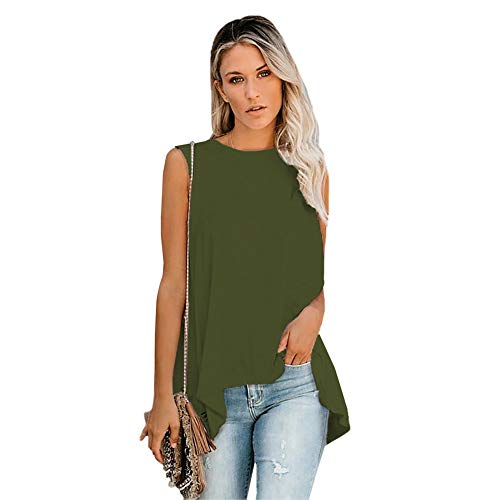 YYH Dames T-shirt Zomer Tank O Nek Mouwloos A-lijn Mini Jurk Button Down Shirt Jurk XL Groen