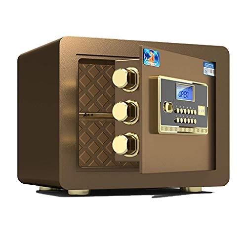 KJHD Seguridad de Acero Caja de Seguridad con Teclado Digital for Office Hogar y Hoteles de joyería Tienda Cash Passport Armas Incluye (Color : Brown)