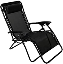 Pacific Pass Zero Gravity Chair Folding Patio Recliner Adjustable Anti Gravity Lounge Chair with Headrest, Support 300lbs, for Outdoor, Camping, Garden, Patio, Lawn, Black, Middle