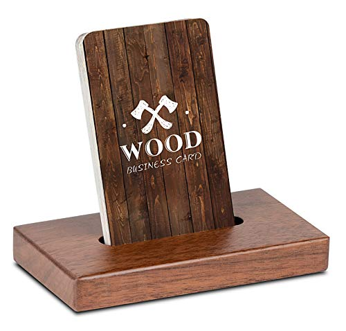 MaxGear Wood Business Card Holder Desk Wooden Business Card Display Holders for Desktop Business Card Holder Stand Desk Cards Display Holder for Home and Office, 2.3 x 4.3 x 0.6 inches, Walnut, Square