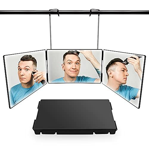 3 Way Mirror for Hair Cutting,Real Glass Self Haircut Mirror Adjustable Telescoping Aluminum Hooks,DIY Haircut Tool Use for Self Hair Cutting,Styling,Women Makeup,Men Shave Neckline