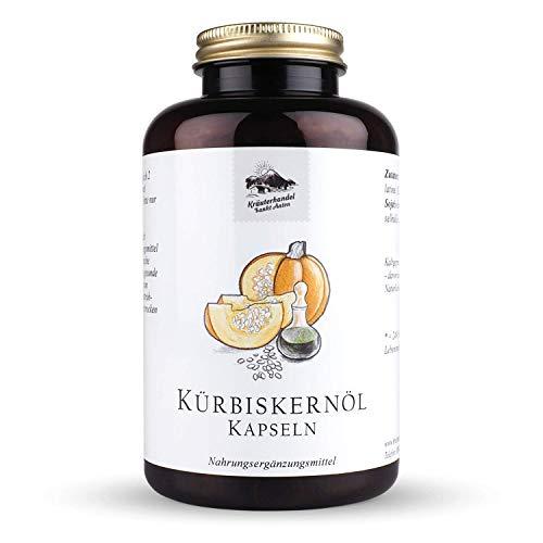 KRÄUTERHANDEL SANKT ANTON® - Kürbiskernöl Kapseln - Hochdosiert - Vitamin E - Laborgeprüft - Deutsche Premium Qualität (400 Kapseln)