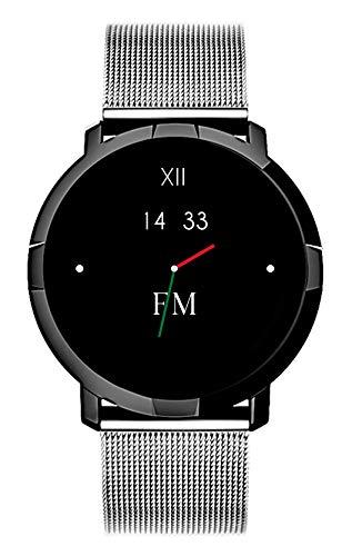 Smartwatch FLORENCE MARLEN FM1R   Disegnato In Italia   2 CINTURINI   Uomo-Donna Maglia Milanese Villasimius Argento  Orologio,Water-Resistant Cardiofrequenzimetro,Contapassi,Notifiche IOS&Android