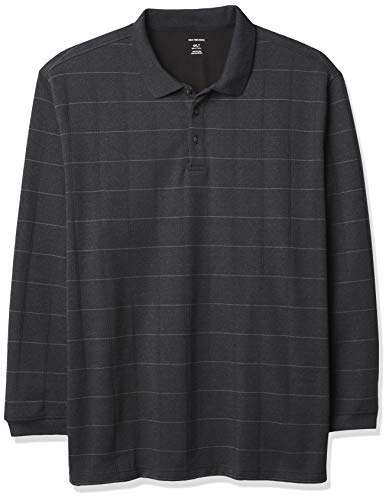 Van Heusen Big and Tall Flex Long Sleeve Jaspe Windowpane Polo Shirt, Negro, 4XL para Hombre