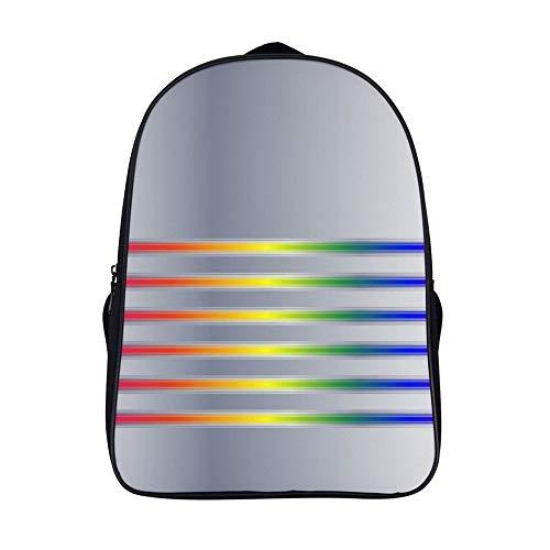 XIAHAILE Kompakte Rucksack Büchertasche für Männer und Frauen, leichter Rucksack für Schul und Urlaubsreisen,Silber Regenbogen Streifen Lenden