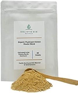 Organic Mushroom Extract Powder by Holistic Bin - Pacific Northwest USA Blend of 19 Wild Varieties (Mesima, Turkey Tail, L...