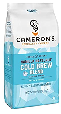 Cameron's Coffee Roasted Ground Coffee Bag, Flavored, Vanilla Hazelnut Cold Brew Blend, 12 Ounce