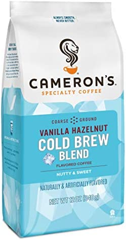 Cameron s Coffee Roasted Ground Coffee Bag Flavored Vanilla Hazelnut Cold Brew Blend 12 Ounce product image
