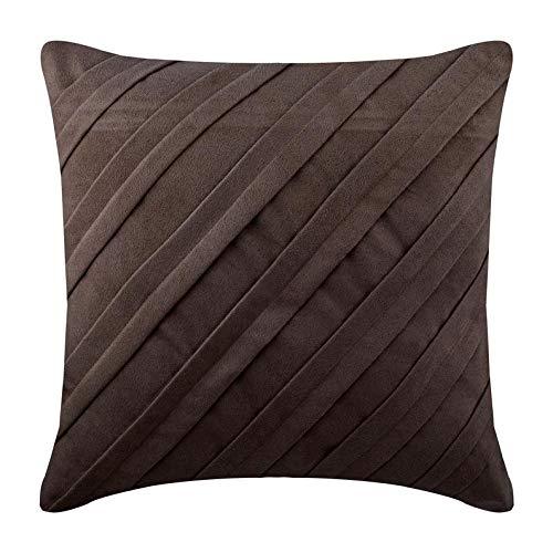 Chocolat Brun Jettent Des Oreillers Couvrent, Plis Nervurés Texturé Couleur Unie Taie D'Oreiller, 35x35 cm Taies D'Oreiller Décoratif, Contemporain Faux Suede - Contemporary Chocolate Brown