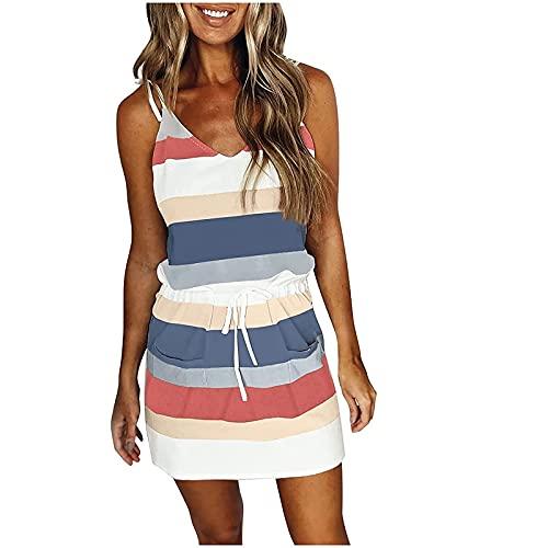 Crazypig Dresses for Women Summer 2021, Sling Dress V Neck Causal Stripe Print Mini Dress Elastic Waist Beach Dresses Blue