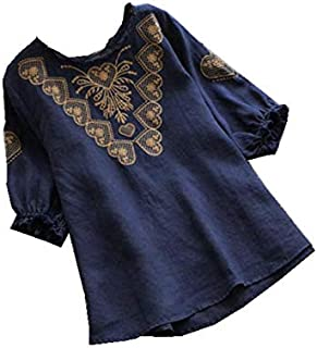 TT WARE Half Sleeve Floral Embroidery O-Neck Vintage Blouse-Navy-18