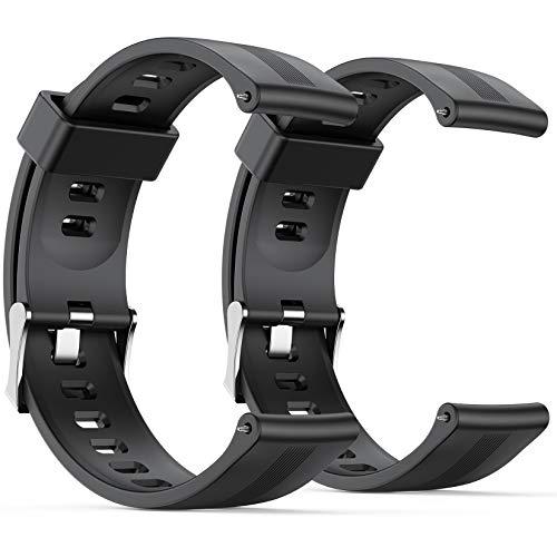 AGPTEK Bracelet de Montre en Silicone pour Hommes Femmes, Noir