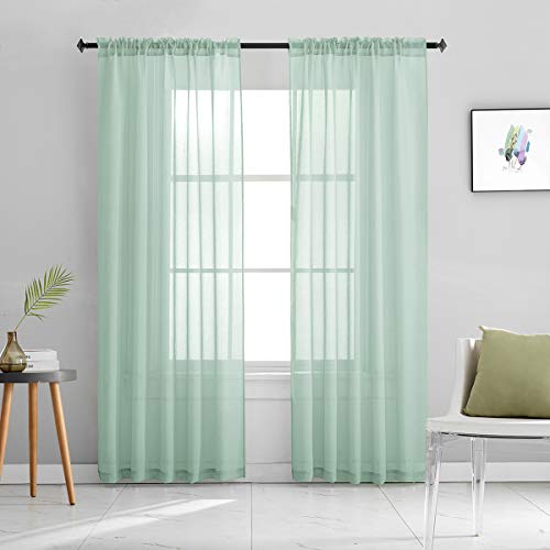 Mint Green Semi Sheer Curtains 84 Inches Long Faux Linen Mint Green Sheers with Rod Pocket for Bedroom Living Room Girls Kids Room 2 Panels 52x84