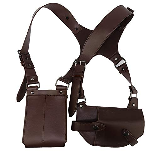 Uncharted Shoulder Belt Nathan Drake PU Gun Holster Ammo Pouches Halloween Costume Props Accessories