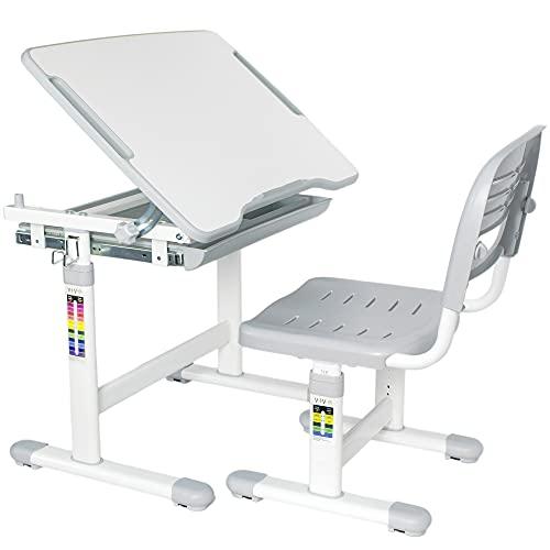 VIVO Gray Height Adjustable Childrens Desk and Chair Set   Kids Interactive Workstation